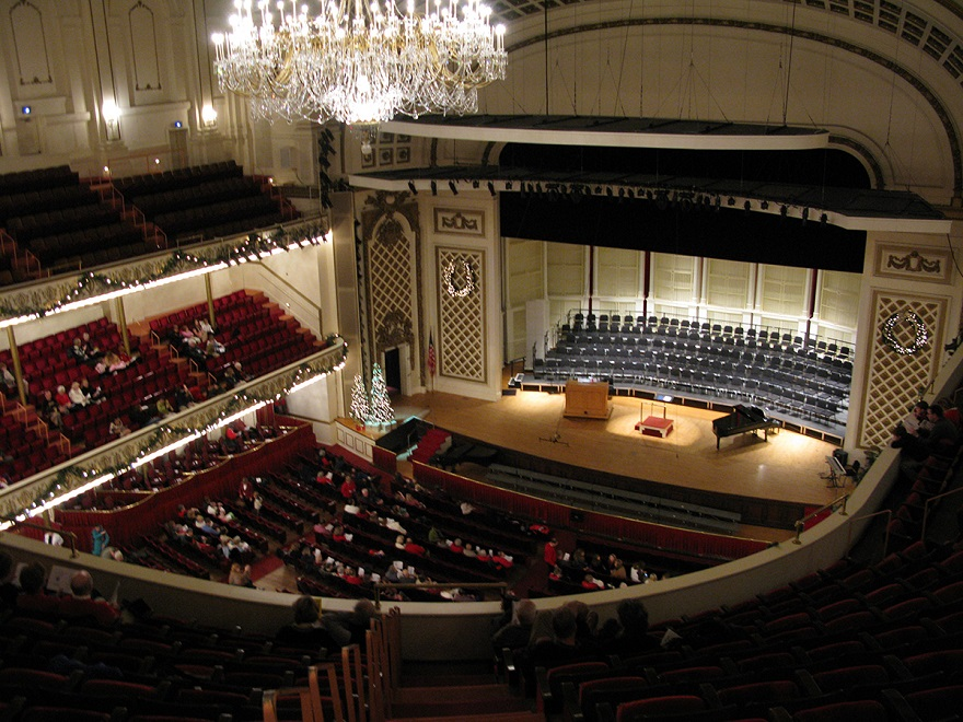 a clean carpet in a music hall